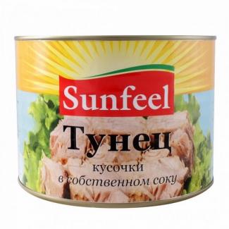 Тунец кусочки в собственном соку 1885г SunFeel