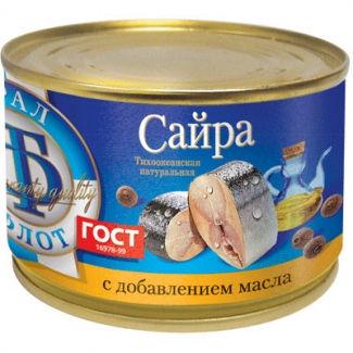 Сайра тихоокеанская натуральная с доб. масла