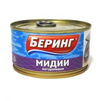 """Мидии натуральные 185г """"Беринг"""""""