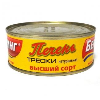 """Печень трески натуральная высший сорт 230г """"Беринг"""""""
