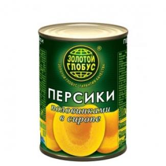 """Персики половинки в сиропе 425мл """"Золотой Глобус"""""""