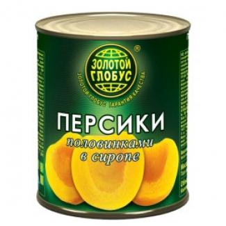 """Персики половинки в сиропе 850мл """"Золотой Глобус"""""""