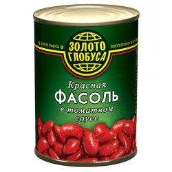 """Фасоль красная в томатном соусе """"Золотой Глобус"""""""